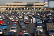 Cars lined up to pass into America from Tijuana Mexico